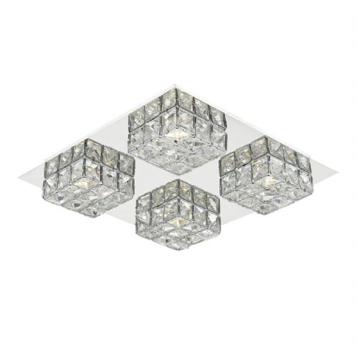 Imogen 4 Light Flush Polished Chrome Clear Glass LED (Class 2 Double Insulated) BXIMO0450-17